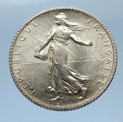1918 FRANCE Antique Silver 1 Franc French Coin w La Semeuse Sower Woman i69358
