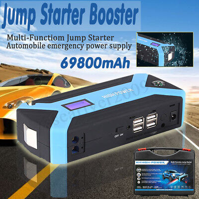 69800mAh Car Jump Starter Booster Jumper Box 4USB LCD Power Bank Battery Charger