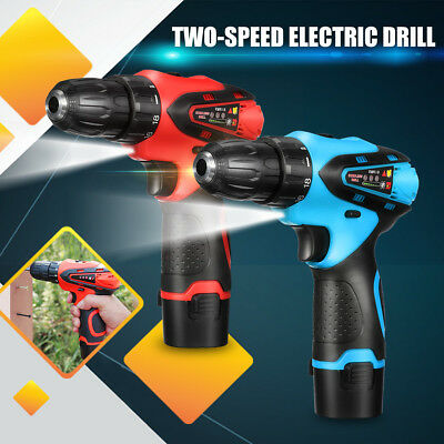 12V Cordless Drill Driver Electric 2-Speed Screwdriver Li-Ion Battery LED Light