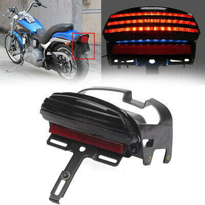 Tri-Bar Fender LED License Plate Bracket Tail Light For Harley Dyna Fat Bob 08UP