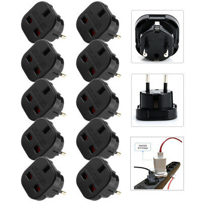10X Uk To Eu Euro Europe European Travel Adaptor Power Plug Convert 3 To 2 Pin