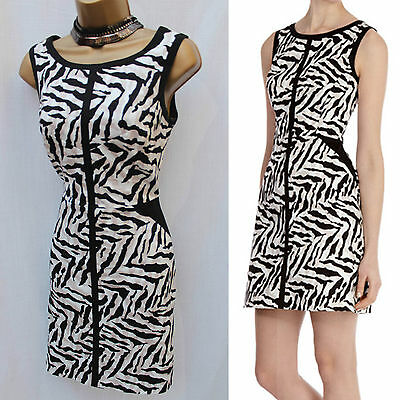 Karen Millen UK 10 Cotton Zebra Print Cocktail Shift Office Work Day Mini Dress