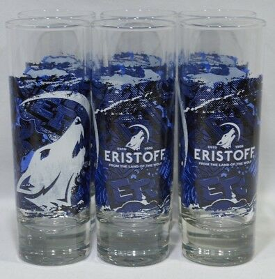ERISTOFF Vodka 6 verres tube Loup form the land of the wolf NEUF