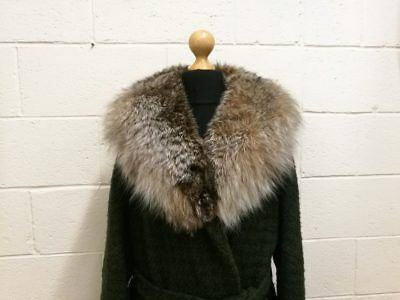 Vintage Ladies Coat. Fab 1960s Green Wool With Fur Collar by Jonelle. 14/16