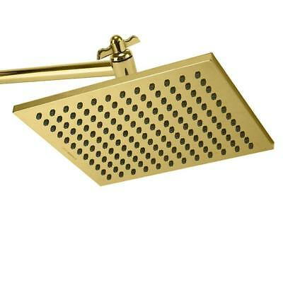 Senlesen Gold Square Showerhead Rainfall Wall Mount Polished Brass Gold