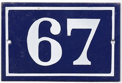 Old blue French house number 67 door gate plate plaque enamel metal sign steel