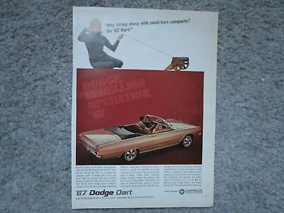 Vintage 1967 Dodge Chrysler Dart Auto Magazine Original Car Ad