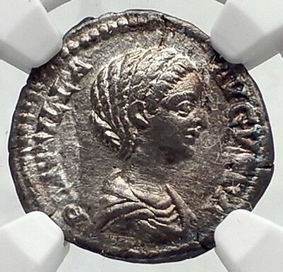 PLAUTILLA wife of Caracalla 202AD Ancient Silver Roman Coin CONCORDIA NGC i73020