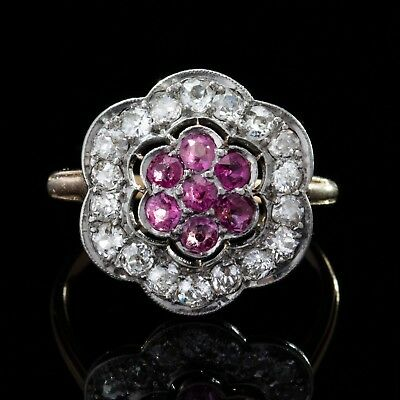 Art Deco Natural Ruby And Diamond Halo Flower Ring