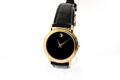 d98feb6a9 Unisex Movado 0690743 Museum Collection Gold Stainless Black Dial Leather  Watch