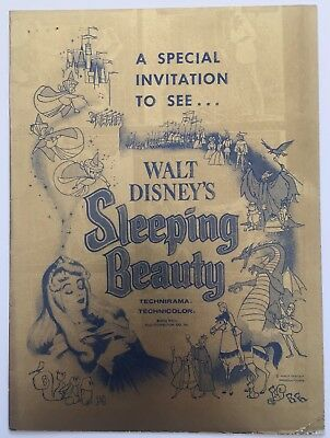 1959 Walt Disney Sleeping Beauty Invitation To See The Premiere Of The Film