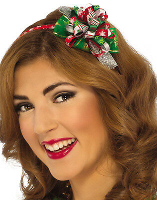 Red & Green Christmas Present Bow Headband Holiday Hat