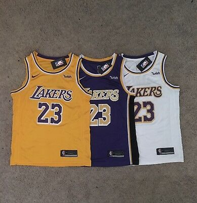 f946012954ea LEBRON JAMES LAKERS Jersey Stitched NWT Purple White Gold S-XXL ...