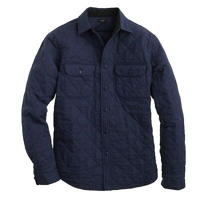 NWT J CREW $168 Classic Navy Blue QUILTED SHIRT JACKET Sz XS Item 06888