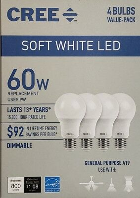CREE 60W Equivalent Soft White (2700K) A19 Dimmable LED Light Bulb (4 Pack)