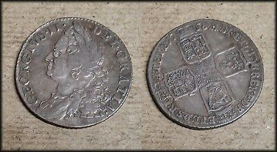 1758 Great Britain George II Shilling SILVER - HIGH GRADE - BINo