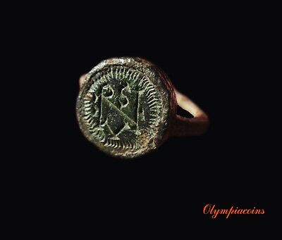 * AMAZING * Ancient EARLY BYZANTINE Iron & Bronze ring ** MONOGRAM ** RRR