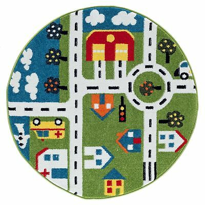 """LR Home Whimsical City Green / Cream Kids Area Rug ( 4'8"""" Round )"""