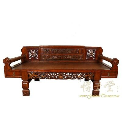 Antique Chinese Carved Rattan Top Lady's Day Bed