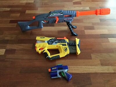 Lot Of 3: Range Master Extreme, Nerf N-Strike Rev 8 Blaster, Nerf Handgun