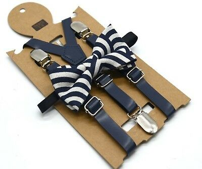 Kids Children Boy Formal Party wedding Navy Pants Brace Suspender bowtie set 1-8