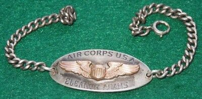 WWII US Women's Army Air Force WAC Jewelry Bracelet WASP Illinois Pilot Sterling