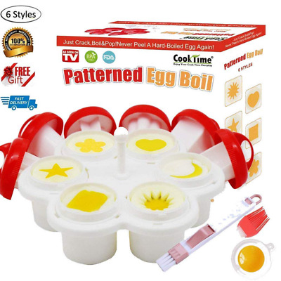 Patterned Egg Cooker & Mold Hard Boiled Egg Maker Without the Shell 6 Shapes
