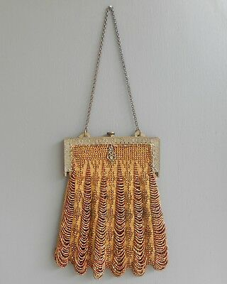 Antique Victorian Edwardian French Style Knitted Bead Swag Purse Copper Gold