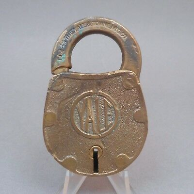 Vintage Yale & Towne Lock Padlock Brass or Bronze Case Shackle no Key