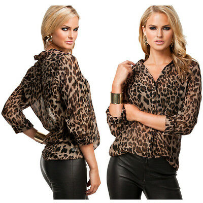 Women Leopard Print Chiffon Long Sleeve Loose Tops Blouse Summer Shirt