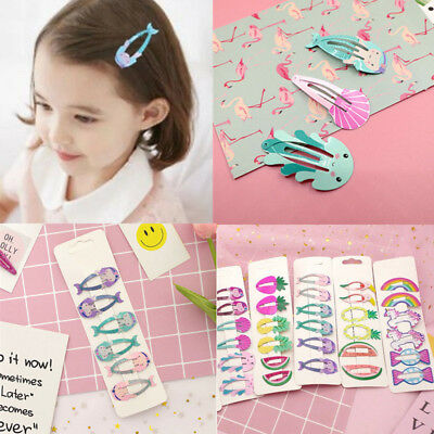 6x Girls baby Hair Clips Snaps Hairpin Girls Baby Kids Hair Bow Accessories