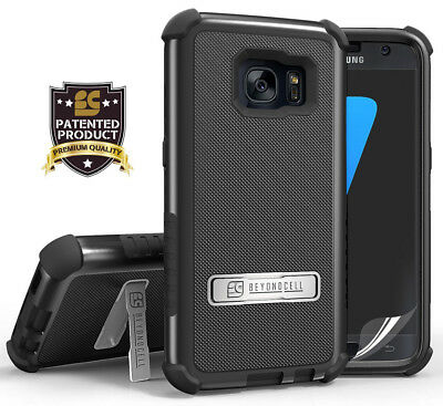 Black Rugged Tri-Shield Rubber Skin Hard Case Cover Stand For Samsung Galaxy S7