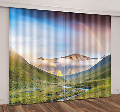 3D Mountain Rainbow Blockout Photo Print Fabric Window Curtain 2 Panels Drapes