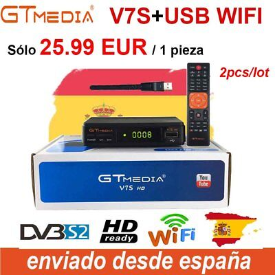 2pcs FTA Satellite Receiver GTMEDIA DVB-S2 V7S+USB Wifi Bisskey Digital HD 1080P