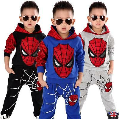 Spiderman Kids Boys Tracksuit Hoodie Tops+Pants Jogger Sweatshirt Clothes Outfit