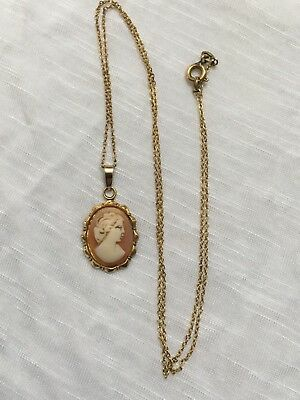 C1940s to 1950s Shell cameo & rolled gold pendant on rolled gold chain 20 inch