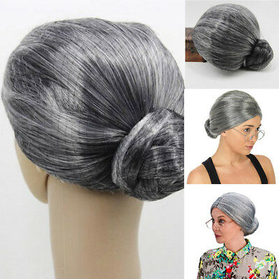 Grandma Wig Old Lady Granny Wigs Cosplay Costume Party Woman Grey Mother Silver