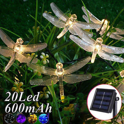Outdoor Solar Powered Dragonfly String Light Patio Garden 20 LED Lamp Lights New