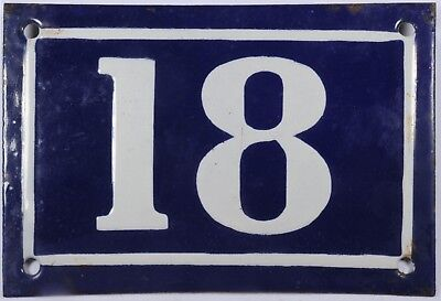Old blue French house number 18 door gate plate plaque enamel steel sign c1950