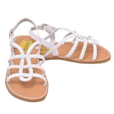 fdab813967f2f3 Rachel Shoes Little Girls White Braided Strap Buckled Sandals 8 Toddler