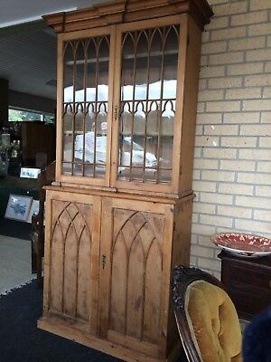 Georgian 18th Century Pine Gothic Bookcase Glass Doors Cupboard Below With Key