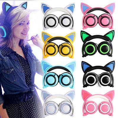 Foldable Kids Computer Cat Ear Headset LED Music Headphones Child Earphone USHK