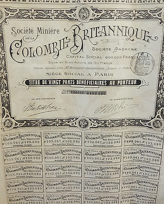 Antique Societe Miniere de la COLOMBIE BRITANNIQUE British Columbia Share Stock