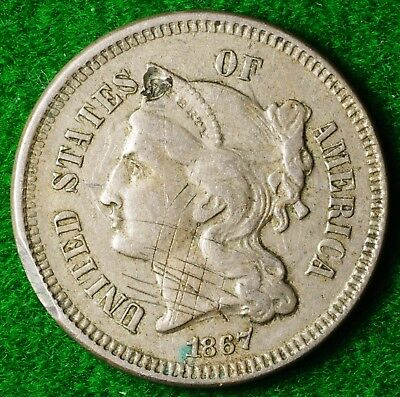 USA Nickel 3 cent dated 1867 in Reasonable condition - FREE UK POSTAGE