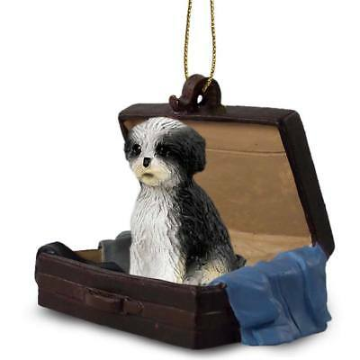 Shih Tzu Blk Wt Puppy Cut Traveling Companion Dog Figurine In Suit Case Ornament