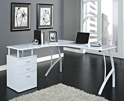Corner Computer Desk Home Office PC Table with 3 Drawers L-Shaped Black or White
