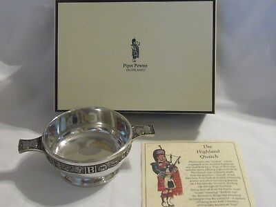 "Scotland Piper Pewter Baby ""ABC' Quaich With Box"
