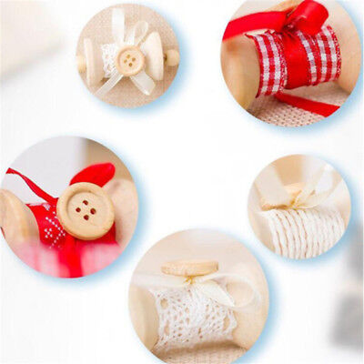 Christmas Tree Ornament Wood Buttons Bows Pendant Hanging Xmas Decor D