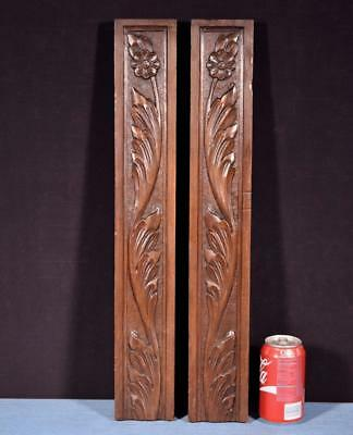 *Antique Breton Hand Carved Architectural Panels Solid Chestnut Salvage Flowers