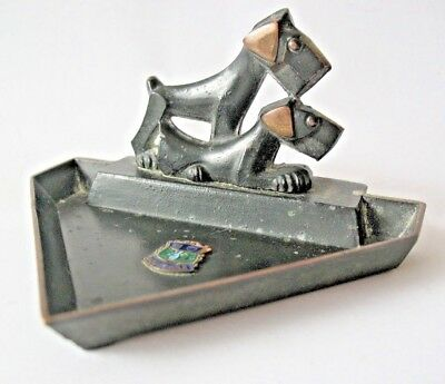 Bronze pair of art deco Terrier Dogs Pin Tray Souvenir from Mousehole Cornwall